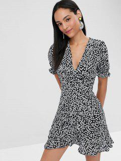 Floral Print Mini Wrap Tea Dress - Black S