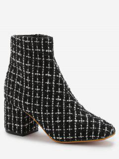 Block Heel Plaid Leisure Boots - Black 38