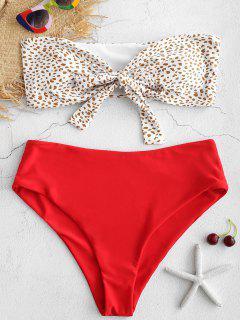 Knoten Hoch Tailliertes Bikini-Set - Liebes Rot S
