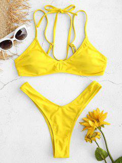 High Cut Thong Bikini Set - Yellow M