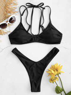 High Cut Thong Bikini Set - Black L