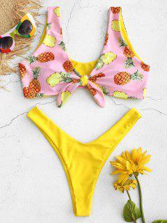 Pineapple Front Knot Bikini Set - Pink M