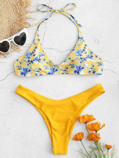 High Cut Blumenmuster Bikini Set - Sonne Gelb S