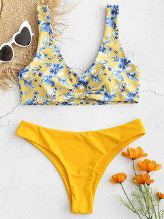 Knot Floral Plunge Tank Bikini Set - Corn Yellow L