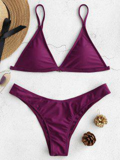 Padded Bikini Top With Thong Bottoms - Dark Orchid L