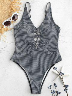 High Cut Lace-up Striped Swimsuit - Black S