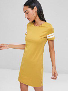 Contrast Mini Tee Dress - Bee Yellow L