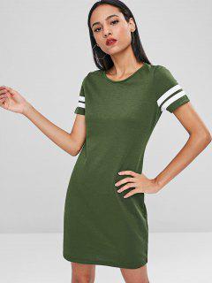 Contrast Mini Tee Dress - Army Green L