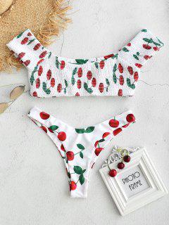 Cherry Smocked Bralette Bikini Set - White L