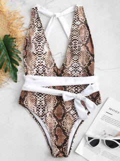 Snake Print Low Back One Piece Swimsuit - Multi M