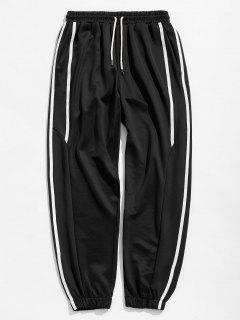 Casual Side Striped Sports Jogger Pants - Black M