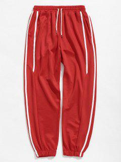 Casual Side Striped Sports Jogger Pants - Red S