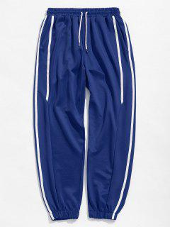 Casual Side Striped Sports Jogger Pants - Blue S