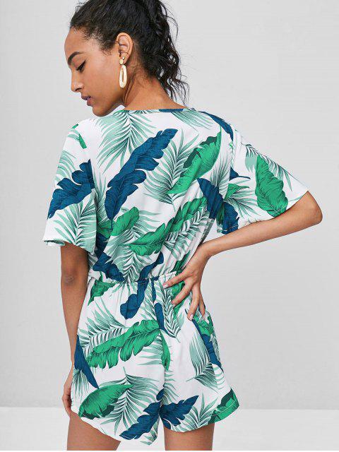 new Tropical Palm Print Surplice Romper - MULTI M Mobile