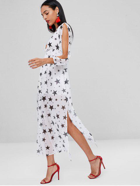 outfits Stars Print Long Slit Split Sleeve Dress - WHITE M Mobile