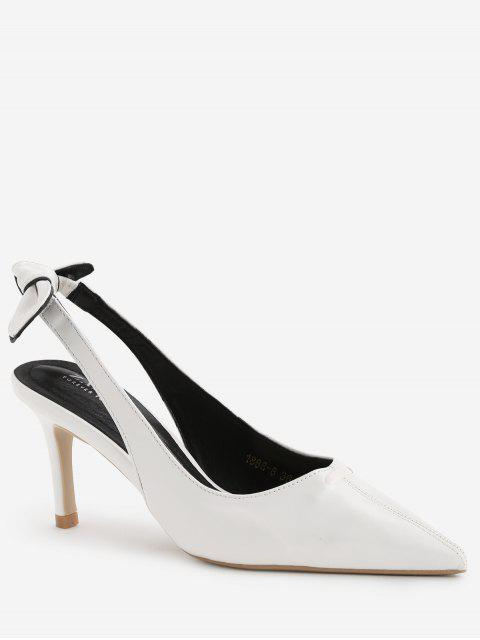Stiletto Heel Bowknot Leisure Pumps - Blanco 37 Mobile