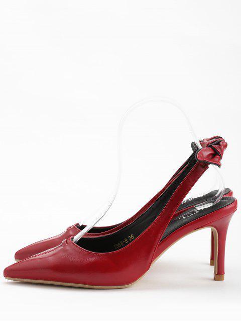 fancy Stiletto Heel Bowknot Leisure Pumps - CHESTNUT RED 36 Mobile