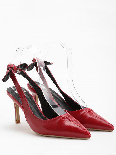 sale Stiletto Heel Bowknot Leisure Pumps - CHESTNUT RED 38 Mobile