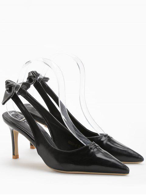ladies Stiletto Heel Bowknot Leisure Pumps - BLACK 38 Mobile