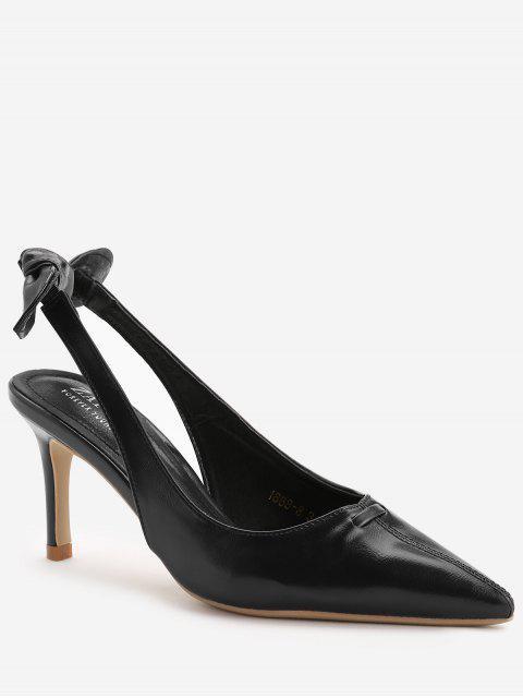 lady Stiletto Heel Bowknot Leisure Pumps - BLACK 39 Mobile