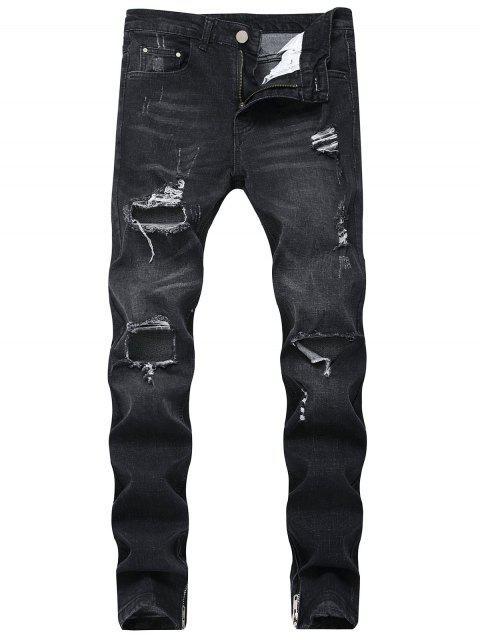 Gerippte Hole Seitliche Reißverschluss Jeans - Schwarz 32 Mobile