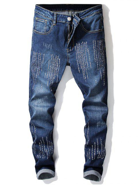 Letras bordadas Skinny Jeans - Azul Oscuro de Denim 38 Mobile