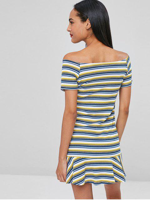 women's Off Shoulder Ribbed Striped Dress - MULTI XL Mobile
