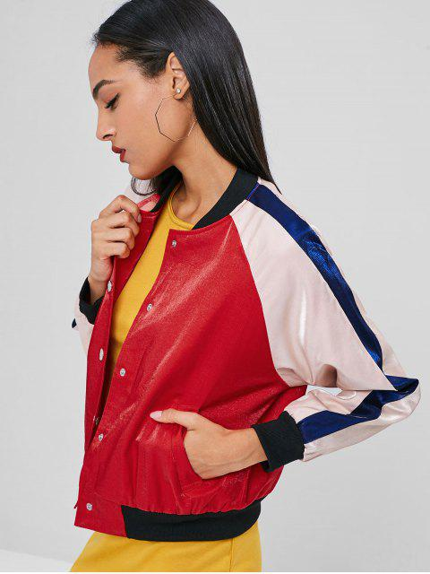 best Snap Button Three Tone Jacket - RED L Mobile