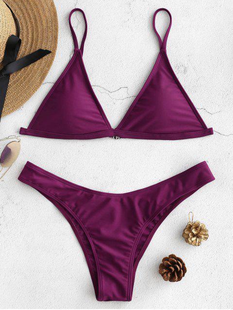Haut Bikini Rembourré avec T-String - Orchidée Foncée L Mobile
