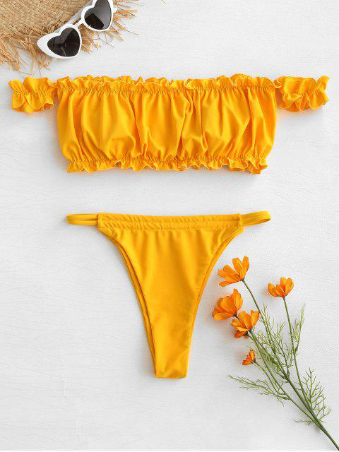 new Frilled Hem Off Shoulder Thong Bikini - BRIGHT YELLOW M Mobile