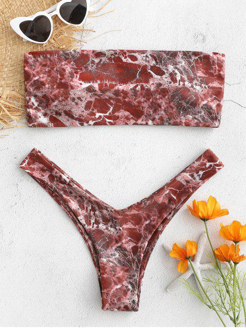Marmor Druck Bandeau Bikini - Roter Fuchk L Mobile