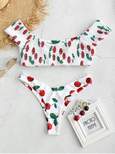 lady Cherry Smocked Bralette Bikini Set - WHITE L Mobile