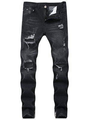 Gerippte Hole Seitliche Reißverschluss Jeans