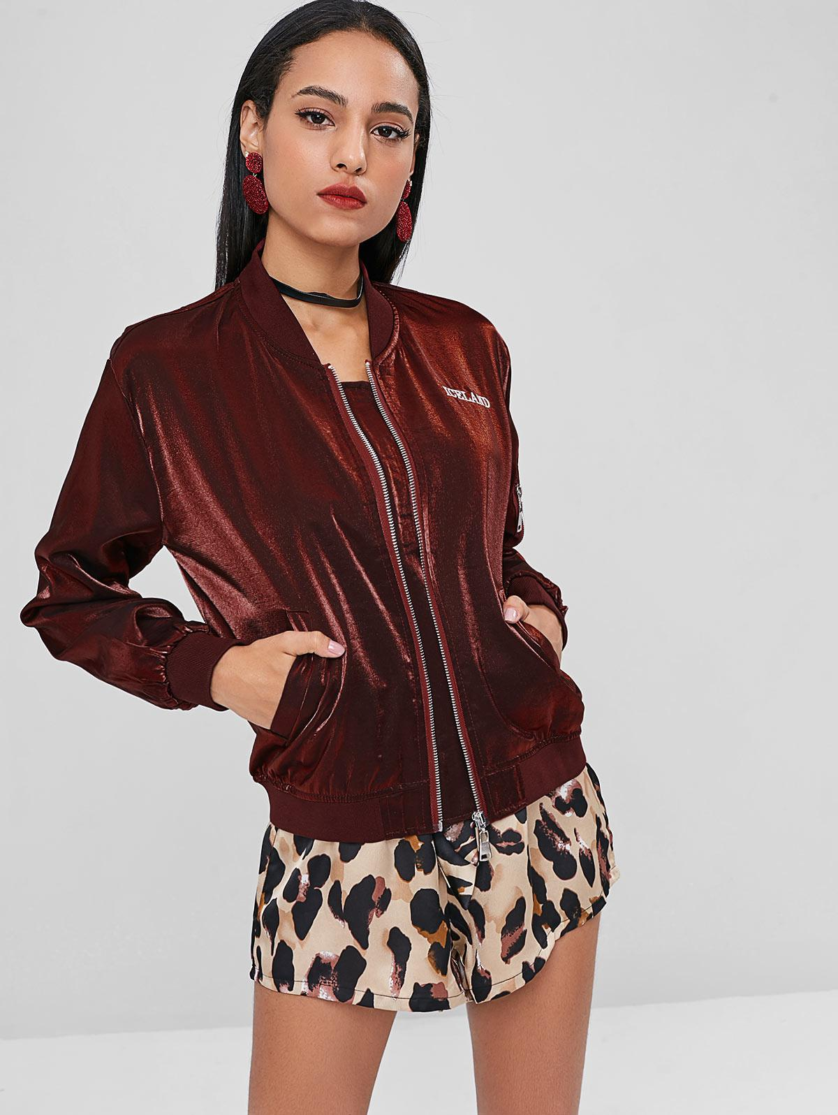Letter Patched Zip Front Jacket, Red wine