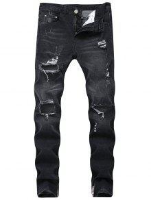 جينز بنمط ممزق - أسود 32