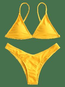 9b60b568f4 13% OFF   HOT  2019 Padded Bikini Top With Thong Bottoms In YELLOW ...