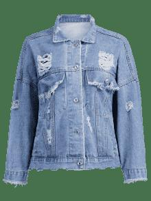 Jacket M Azul Ripped Denim Denim Frayed fw1E8w