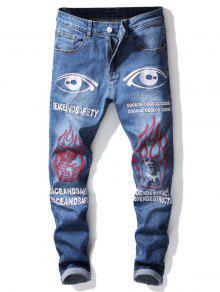 ممزق التفاصيل الرسم جينز مطرز - الأزرق الملكي 38