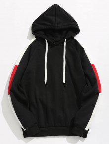 Side Stripes Patch Fleece Hoodie - أسود Xs