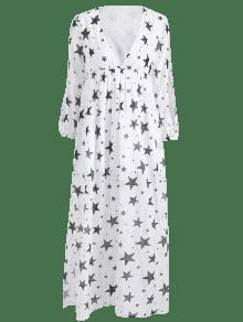 Estampado Estrellas Las En Y Larga S Con Manga Abertura Blanco Vestido dwq80Sd