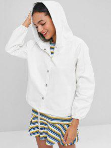 dfea5f806b 30% OFF] [HOT] 2019 Hooded Graphic Back Twill Jacket In WHITE | ZAFUL