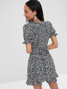 Estampado De Envoltura De Vestido Mini S Negro Floral aIqZU8Tfw