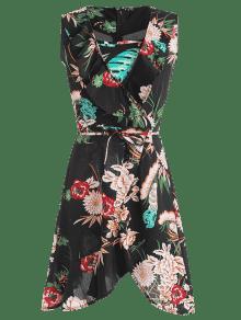 Con De Plunge Vestido Negro Volantes Floral M Estampado R57xxqnOw6