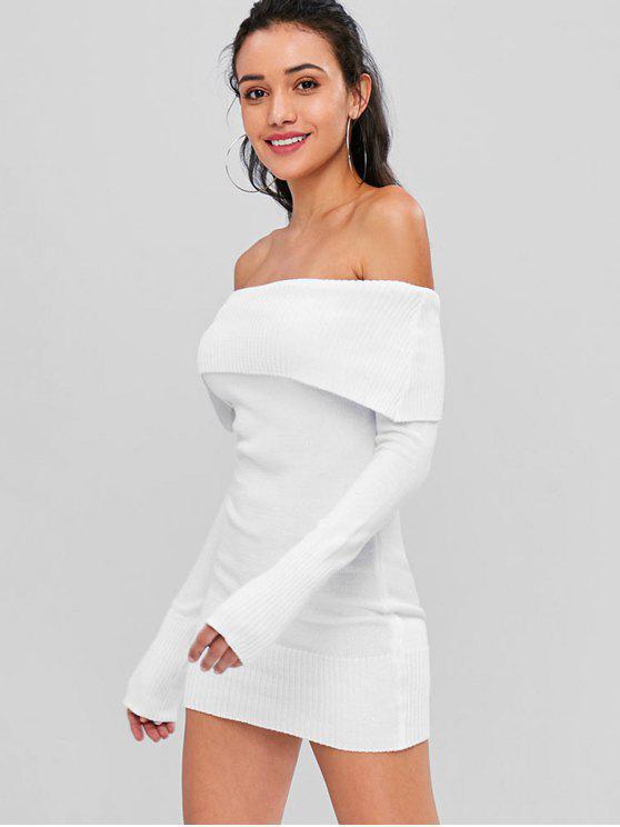 Robe Pull Superposé à Epaule Dénudée - Blanc Lait Taille Unique
