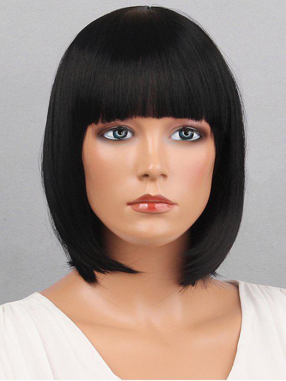 قصيرة بانغ الكامل ملتوية مستقيم شعر مستعار الاصطناعية - أسود