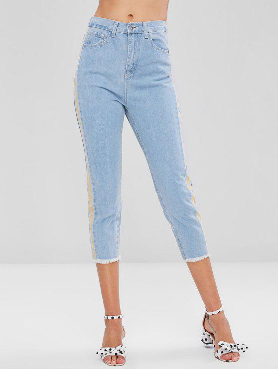 women Striped Frayed Hem Jeans - DENIM BLUE XL