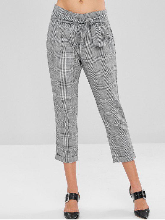 sale High Waisted Paper Bag Pants - MULTI S