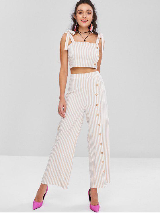 women's Tie Shoulder Striped Crop Top and Pants Set - APRICOT L