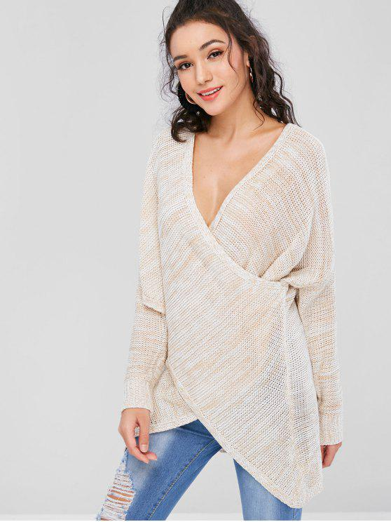 trendy Low Cut Overlap Sweater - LIGHT KHAKI S