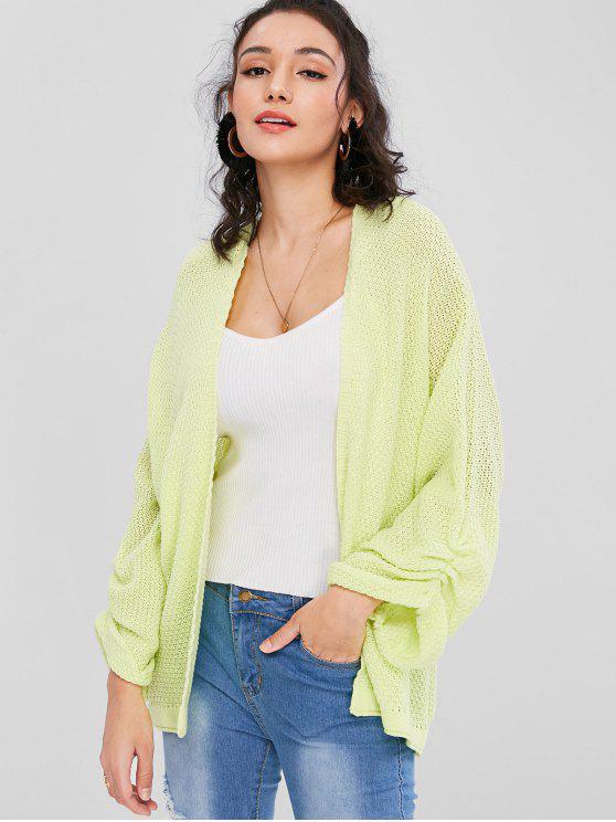 women's Cuffed Sleeves Open Cardigan - TEA GREEN M